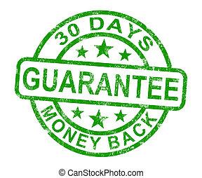 estampilla, dinero, 30, días, espalda, garantía