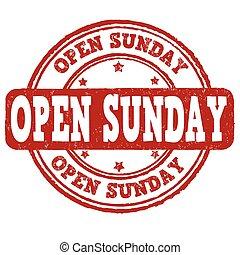 estampilla, domingo, abierto