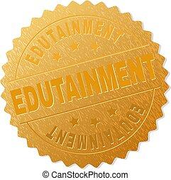estampilla, dorado, premio, edutainment