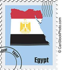 estampilla, egipto, vector