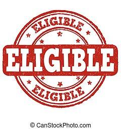estampilla, elegible, o, señal