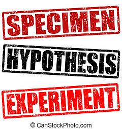 estampilla, espécimen, hypothesis, experimento