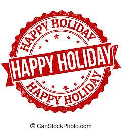 estampilla, feriado, feliz