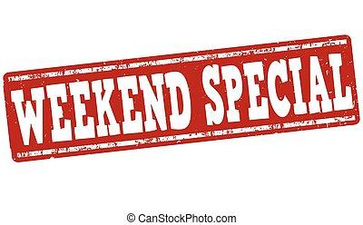 estampilla, fin de semana, o, especial, señal