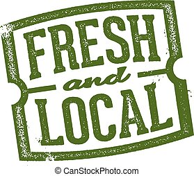 estampilla, fresco, mercado local