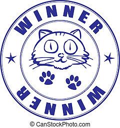 estampilla, ganador, -, redondo, certificado