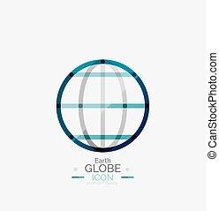 estampilla, globo del mundo, logotipo