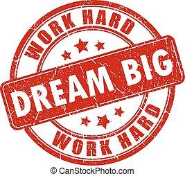 estampilla, grande, de motivación, sueño
