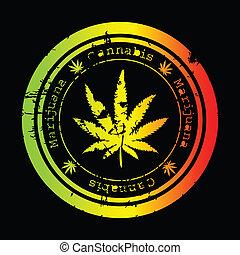 estampilla, grunge, hoja, marijuana
