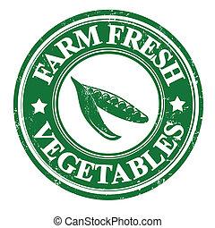 estampilla, guisantes, etiqueta, verdura verde, o