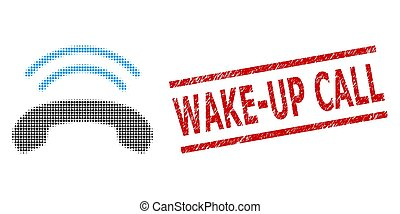 estampilla, halftone, anillo, sello, teléfono, wake-up, ...
