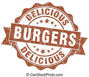 estampilla, hamburguesas, grunge, delicioso, marrón