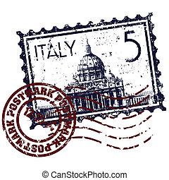 estampilla, ilustración, italia, aislado, icono, vector, ...
