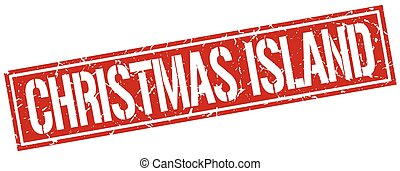 estampilla, isla, cuadrado, navidad, rojo