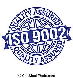 estampilla, iso, calidad, 9002, asegurado