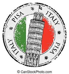estampilla, italia, torre, vector, pisa