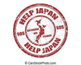 estampilla, japón, ayuda