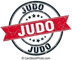 estampilla, judo, grunge, redondo, cinta