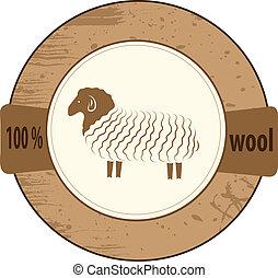 estampilla, lana, productos, listas