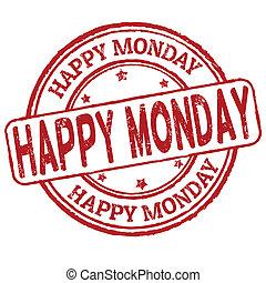 estampilla, lunes, feliz