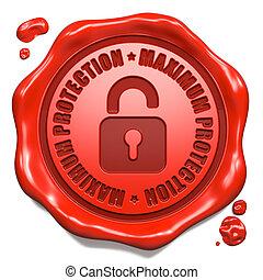 estampilla, -, máximo, seal., protección, cera, rojo