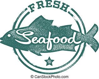 estampilla, mariscos frescos, menú