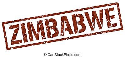 estampilla, marrón, zimbabwe, cuadrado