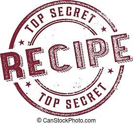 estampilla, menú, cima, receta, secreto
