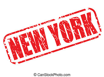estampilla, nueva york, rojo, texto