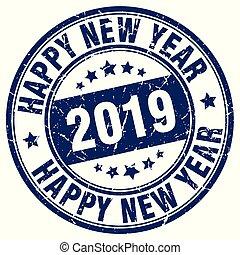 estampilla, nuevo, feliz, 2019, año