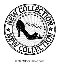estampilla, nuevo, zapato, colección