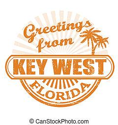 estampilla, oeste, saludos, llave