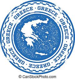 estampilla, país, grecia