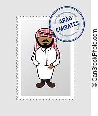 estampilla, persona, postal, árabe, caricatura