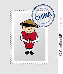 estampilla, persona, postal, caricatura, chino