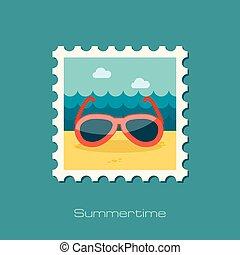 estampilla, plano, gafas de sol