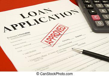 estampilla, préstamo, aplicación, impreso, approved., aprobado