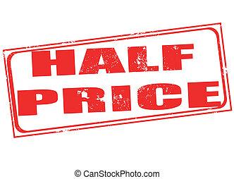estampilla, precio, mitad