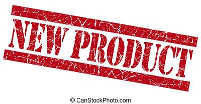 estampilla, producto nuevo, grunge, rojo