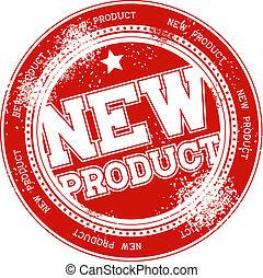 estampilla, producto nuevo, vector, grunge