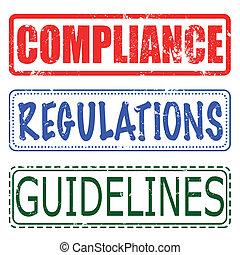 estampilla, regulaciones, conjunto, pautas, conformidad