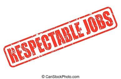 estampilla, respetable, trabajos, rojo, texto
