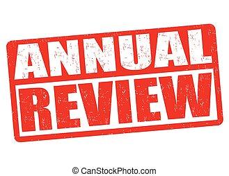 estampilla, revisión, anual, o, señal