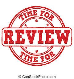 estampilla, revisión, tiempo