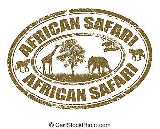 estampilla, safari, africano