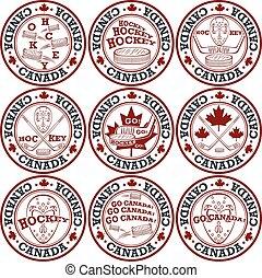 estampilla, set., hockey, canadiense