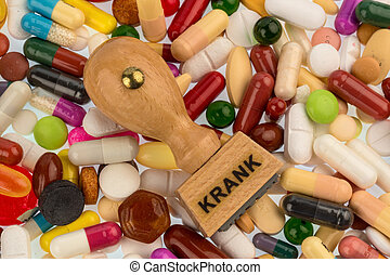 estampilla, tabletas, colorido