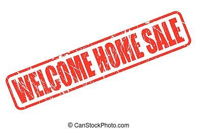 estampilla, texto, bienvenida, venta, hogar, rojo