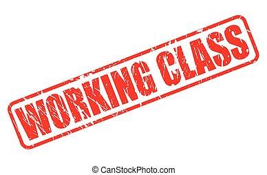 estampilla, texto, clase, trabajando, rojo