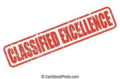 estampilla, texto, clasificado, excelencia, rojo